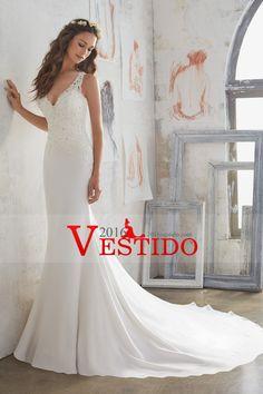 c0695e2490 2017 nuevos de la llegada vestidos de novia de cuello en V gasa con  apliques de