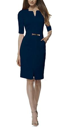 REPHYLLIS Women's Official v Neck Optical Illusion Half Sleeve Business Dress (XX-Large, Darkblue) 60%Polyester/25%Spandex/15%Cotton. v-neck,Above Knees with Gold Belt ,Summer style For work,business office,casual, cocktail,party and so on. Low Temperature and Hand-clearning available for washing. Our products are based on US sizes. If you are still not sure of the size of the clothes, carefully check the size table before purchasing in Product Description
