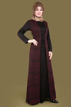Kabartma Desenli Tesettür Elbise  Bordo Ürün kodu: MZ9208--> 109.90 TL