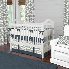 Boy Baby Crib Bedding: Gray and Navy Raindrops 4-Piece Set by Carousel Designs by CarouselDesignsShop on Etsy https://www.etsy.com/listing/213843655/boy-baby-crib-bedding-gray-and-navy