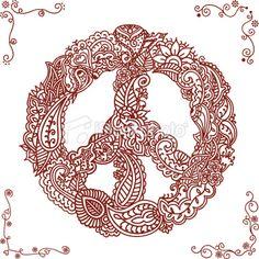 Mehndi Peace Symbol Royalty Free Stock Vector Art Illustration