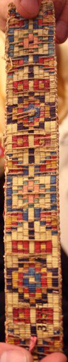 Natural dye - Reverse side of loomed quillwork collected from an Upper Missouri tribe by the Lewis and Clark Expedition, pre-1804. All natural dyes. Collection of the University of Pennsylvania Museum