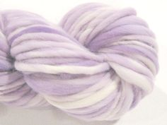 handspun yarn Almost Solid Lilac thick and thin bulky singles merino yarn, 68 yards, hand dyed merino wool top
