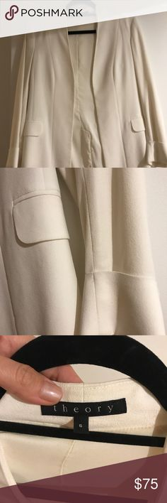 White Theory crepe casual-fitted blazer white blazer from Theory - sharp and chic but also feels relaxed enough to pair with jeans or a dress! Theory Jackets & Coats Blazers