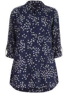 Evans Blue Bird Print Shirt - Tops & Tunics  - Clothing