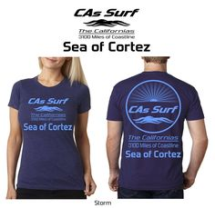 #CAsSurf | California T-Shirts | Sea of Cortez, Baja California -- Available for Retail Stores! Choose from over 300 surf locales from the mighty Pacific Ocean to the magical Sea of Cortez aka Gulf of California. Also, pick your own custom shirt/print color combos from a wide selection. Inquiries: info@GoCalifornias.com #baja #california #tshirts #surf