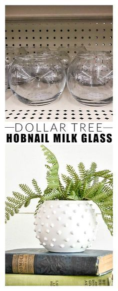 Dollar Store DIY: How to Make Hobnail Frosted Glass # diy . Dollar Store DIY: How to Make Hobnail Frosted Glass # diy Dollar Tree Decor, Dollar Tree Crafts, Dollar Tree Vases, Diy Crafts Dollar Store, Dollar Store Decorating, Dollar Store Hacks, Decorating Websites, Decorating Ideas, Diy Home Crafts