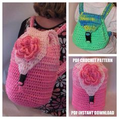 Instant Download Crochet Pattern - Weekend Backpack or School Book bag on Etsy, $5.00