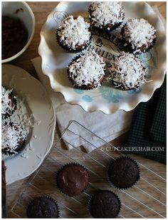Cupcake Rehab - Dark chocolate coconut cupcakes with a dark chocolate sour cream frosting!