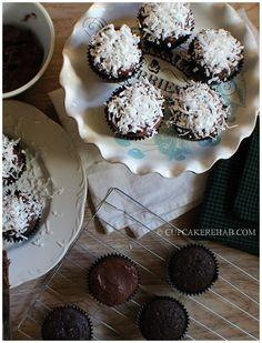 Cupcake Rehab - Dark chocolate coconut cupcakes with a dark chocolate sour cream frosting!