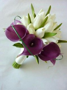 White Tulips, Purple Calla Lilies, Green Foliage & Green Lily Grass Loops