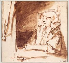 Chapter 4. Rembrandt, Hendrickje Stoffels Seated in a Window, ca. 1655. Pen and wash, 16.2 x 17.4 cm. Nationalmuseum, Stockholm.