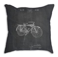 Bike Pillow, Bike Throw Pillow, Cycling Decorative Throw Pillows, Biking Patent Pillow 18x18