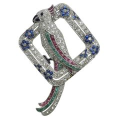 Art Deco Diamond and Gemset Parrot Brooch Circa 1925 at 1stdibs