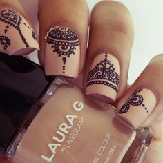 """Henna Tattoo inspired nails Used a toothpick, ""Iced Latte"", and black acrylic paint"""