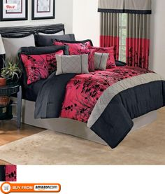 Brylanehome Mikado 15-Piece Comforter Set,  East meets west and the results are spectacular. An Asian motif adorns this black and red pieced comforter embellished with flocking. This multi-pieced comforter set gives any bedroom what it needs..., #Home & Garden, #Comforter Sets, $299.99