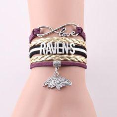 Infinity Love Baltimore Ravens bracelet NFL Sport rope leather football team Charm bracelet & bangles for women men jewelry
