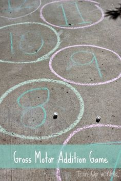 Gross Motor Addition Game - Simple math game that gets kids moving.  All you need is sidewalk chalk and dice!