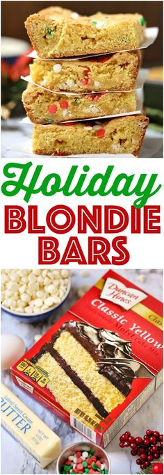 Easy Holiday Blondie Bars - The Country Cook Recipes - Dessert Cake Mix Recipes, Cookie Recipes, Dessert Recipes, Cake Mixes, Dessert Bars, Yummy Recipes, Vegetarian Recipes, Recipies, No Cook Desserts