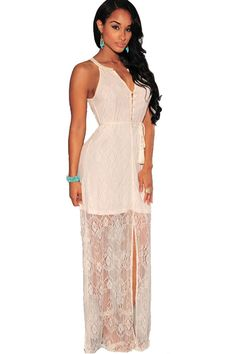 Beige Lace V Neck Cutout Back Casual Maxi Dress