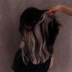 Hair Color Streaks, Hair Color Purple, Hair Dye Colors, Hair Highlights, Two Color Hair, Blonde Peekaboo Highlights, Under Hair Color, Hair Inspo, Hair Inspiration