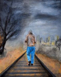 On right tracks / Sur les pistes de droite - Painting,  50x40x2 cm ©2015 przez Maga Smolik -  Malarstwo