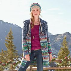 Sundance Catalog--Copenhagen Cardigan Our Fair Isle-striped lambswool cardigan reinvents classic car-coat styling with shawl-collared coziness, easy comfort, vibrant color and Nordic good looks. Autumn Winter Fashion, Winter Style, Fall Winter, Unique Clothes For Women, Fair Isle Pattern, Knitted Coat, Fair Isle Knitting, Knitting Designs, Knitting Ideas