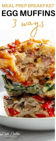 These Meal Prep Breakfast Egg Muffins - 3 Ways are the perfect way to plan ahead for breakfast! They are so easy to make and even easier to customize to your liking. With three flavors to choose from there's an egg muffin recipe here for everyone to enjoy. Pack these with you for breakfast on the go, lunch, or even a midday snack! #egg #healthybreakfast #mealplanning Breakfast On The Go, Quick And Easy Breakfast, Breakfast Ideas, Cafe Delites, Egg Muffins, Tasty, Yummy Food, Easy Food To Make, Love Food