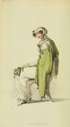 Fashion Plate (Carriage Dress), Rudolph Ackermann (England, London, 1764-1834), Series1 Vol 9: April 1813, English, hand-coloured engraving on paper.