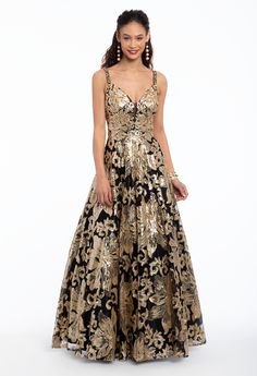 This extravagant ball gown prom dress = instant royalty! Be the center of attention in an elaborate formal evening gown, featuring a plunging neckline, fitted sequin bodice, ball gown skirt and V-back. Keep accessories simple with ankle strap heels and a top ring box handbag. #CamilleLaVie