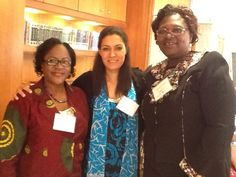 Helen Gwanfobe (left) is seeking to expand her work serving children by opening centers or orphanages. She has used the GLN to connect with Andeisha Farid of Afghanistan (center) and Rosana Shaack of Liberia (right). They all are sharing common challenges and strategies serving young women and girls.