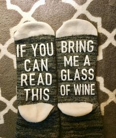 Custom Socks, Drink Sleeves, Wine Glass, Reading, Crafts, Personalized Stockings, Word Reading, Reading Books, Creative Crafts