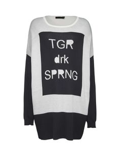 Tiger Of Sweden: Material pullover - Women's two-tone pullover in viscose-blend. Features contrast-colour text in jacquard knit at front. Ribbed trim at neck and cuff. Below-hip length. Colour Text, Tiger Of Sweden, Knitwear, Contrast, Pullover, Knitting, Sweatshirts, Fit, Sleeves