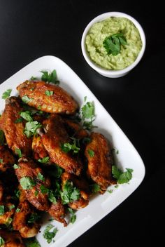 Taco-spiced Chicken Wings with Guacamole