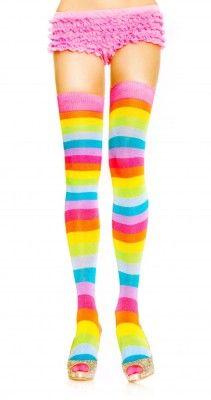 Bright stripes! Neon rainbow thigh high socks just $6.99 <3