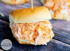Mouthwatering recipe for Slow Cooker Buffalo Chicken Sliders made with Frank's Wing Sauce!