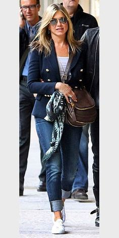 BREAKTHROUGH PERFORMANCE BY A BLAZER  For an item of clothing that sounds like it came straight out of The Official Preppy Handbook, this navy double-breasted blazer is surprisingly versatile and laid-back. Jennifer Aniston wore it all over Paris with cuf