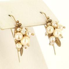 Estate 14 Karat Yellow Gold Cultured Pearl Cluster Drop Earrings Fine Jewelry $395