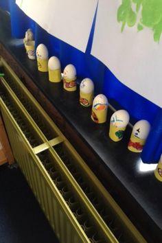 Witte eieren koken en vervolgens laten versieren met stiften. Je kan er nog een kokertje bijmaken en versieren. Dit was het thema Pasen.