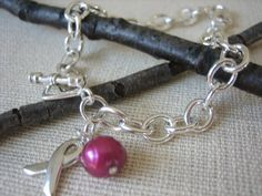Breast Cancer Pink Ribbon Awareness Bracelet by SharinAnn on Etsy, $24.00