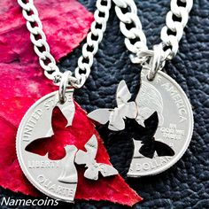 Butterfly Necklace, Interlocking Relationship Jewelry, Hand Crafted Cut Quarter by NameCoins on Etsy