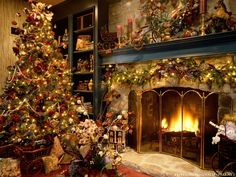 Christmas Tree and Fireplace Wallpaper
