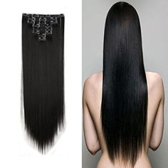 Clip in Hair Extensions Synthetic Full Head Hairpieces Japanese Kanekalon Fiber Thick Long Straight Soft Silky for Women Fashion and Beauty 23 23 inch 1 Dark Black ** Read more at the image link. (This is an affiliate link) Feather Extensions, Synthetic Hair Extensions, Clip In Hair Extensions, Feathered Hairstyles, Hair Sticks, Diy Makeup, Hair Pieces, Hair Clips, Curls