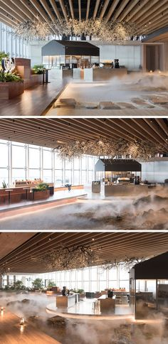 This modern coffee shop has a stepping stone path that leads through a mist-covered landscape with mossy rocks and sand, to a wooden ship deck. The mist-covered landscape represents the water surface that surrounds a ship. Coffee Shop Design, Cafe Design, Store Design, Interior Design Coffee Shop, Restaurant Interior Design, Modern Interior Design, Modern Restaurant, Contemporary Interior, Interior Exterior