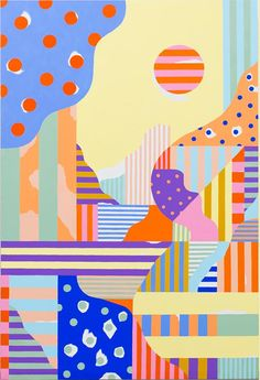 Abstract Paintings at Diy Canvas Art, Acrylic Painting Canvas, Art Alevel, Funky Art, Arte Pop, Colorful Paintings, Mural Art, Illustrations And Posters, Painting Patterns