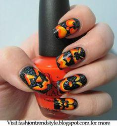 Halloween Easy Nail Art Video Tutorials 2 | fashiontrendstyle.blogspot.com