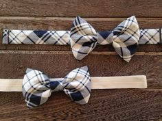 Blue and White Headband and Bow Tie Sibling Set