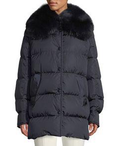 Moncler Mesange Puffer Coat w/ Fur Collar Fur Collars, High Collar, Moncler, Half Sleeves, Winter Coat, Fur Coat, Luxury Fashion, Winter Jackets, Bergdorf Goodman