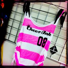 I custom cut, sew, dye and print these cute tanks for my cheer and dance line Cheer Ink :)