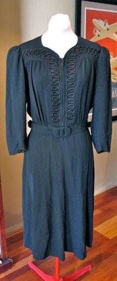 Vintage Late 1930s / 1940s Crepe Gown  L by VioletsEmporium, $120.00